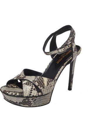 Saint Laurent Black/Beige Python Embossed Leather Bianca Platform Sandals Size 38