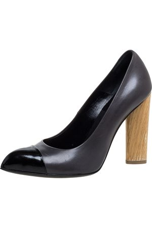 Saint Laurent Black Leather Wood Heel Pointed Toe Pumps Size 37.5