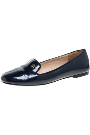 Tory Burch Navy Blue Patent Leather Samantha Smoking Slippers Size 38