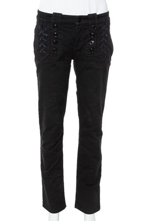 Gucci Black Denim Lace Up Detail Slim Fit Jeans M