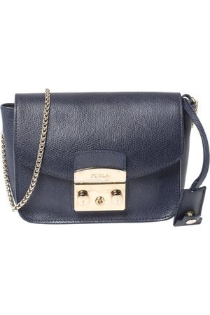 Furla Blue Leather Mini Metropolis Crossbody Bag