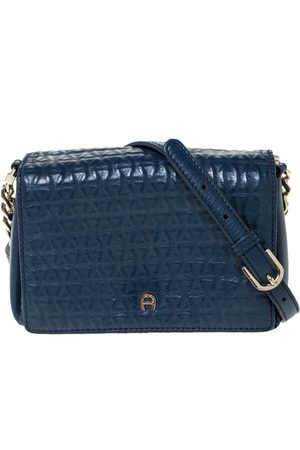 Aigner Navy Blue Leather Flap Crossbody Bag