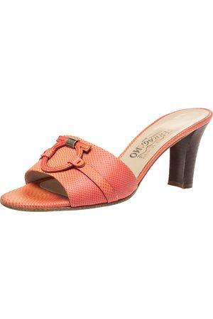 Salvatore Ferragamo Pink Lizard Leather Open Toe Sandals Size 39.5