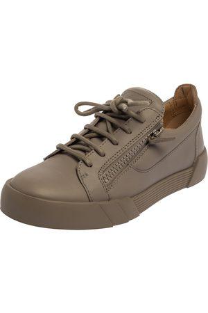 Giuseppe Zanotti Grey Leather Frankie Low Top Sneakers Size 40