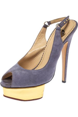 Charlotte Olympia Lilac Suede Slingback Peep Toe Platform Sandals Size 38