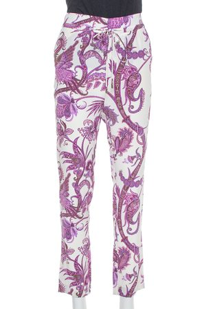 Gucci Purple Abstract Paisley Printed Silk Waist Tie Detail Pants S