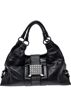 Tod's Black Leather Studded Lock Flap Shoulder Bag