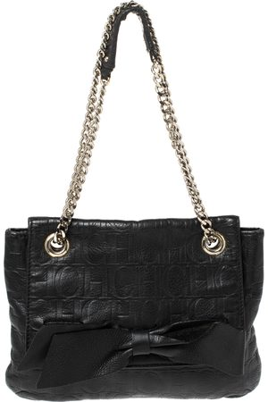 Carolina Herrera Black Leather Audrey Shoulder Bag