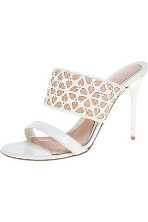 Alexander McQueen White/Beige Leather Laser Cut Sandals Size 40