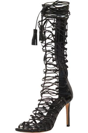 Roberto Cavalli Black Leather Gladiator Wrap Sandals Size 37