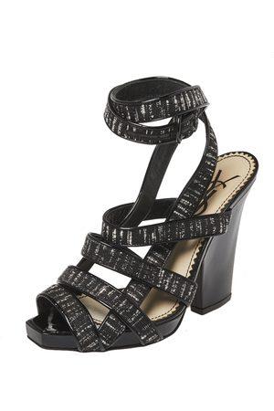 Saint Laurent Saint Laurent Monochrome Fabric And Patent Leather Trim Ankle Wrap Sandals Size 37
