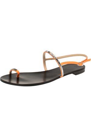 Giuseppe Zanotti Neon Orange Leather Crystal Embellished Toe Ring Slingback Flat Sandals Size 40