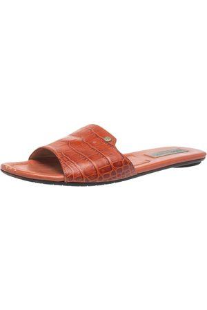 Jimmy Choo Dark Orange Croc Embossed Leather Nanda Flat Slides Size 38.5
