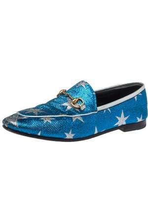 Gucci Blue Glitter Fabric Jordaan Star Lurex Horsebit Loafers Size 37