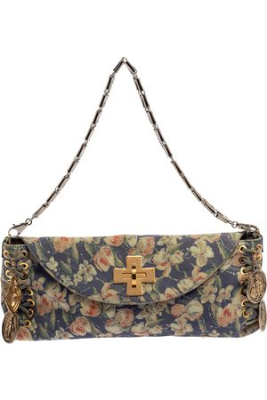 Roberto Cavalli Multicolor Floral Print Suede Turnlock Flap Shoulder Bag