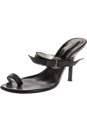 Roberto Cavalli Black Leather Toe Ring Sandals Size 37