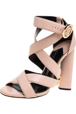 Tom Ford Blush Pink Leather Ring Ankle-Wrap Block Heel Sandals Size 36