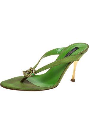 Sergio Rossi Green Satin Crystal Embellished Slide Sandals Size 36.5