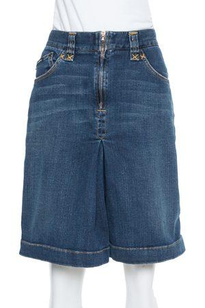 Dolce & Gabbana Navy Blue Denim Pleated Detail Knee Length Skirt S