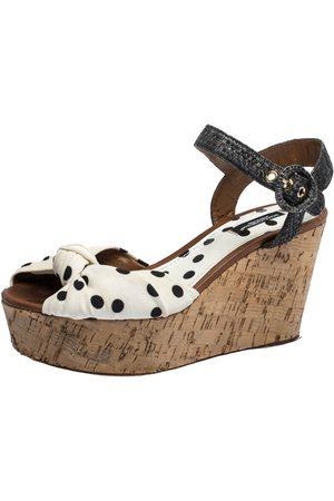 Dolce & Gabbana White/Gray Polka Dot Fabric and Raffia Cork Wedge Sandals Size 37