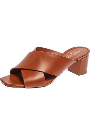 Saint Laurent Brown Leather Loulou Criss Cross Block Heel Sandals Size 36