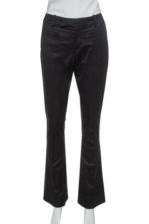 Gucci Black Stretch Silk Flared Trousers M