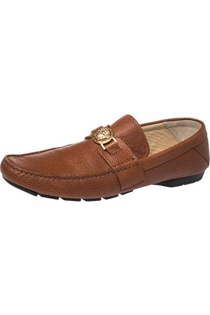 VERSACE Brown Leather Medusa Detail Slip On Loafers Size 46