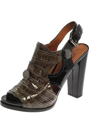 Marc Jacobs Green/Black Croc Embossed Patent Leather Slingback Sandals Size 39.5
