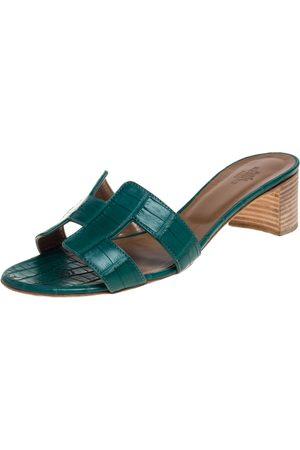 Hermès Green Alligator Leather Oasis Slides Size 37.5