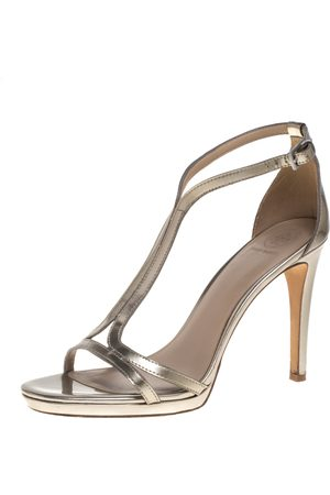 Tory Burch Gold Patent Leather Ankle Strap Sandals Size 38.5