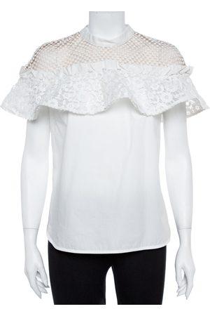 Self-Portrait White Cotton Lace Panel Ruffled Hudson Top M