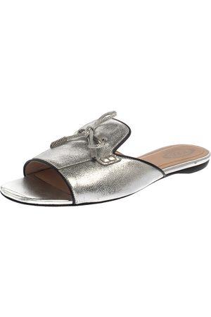 Tod's Metallic Silver Leather Open Toe Flat Slides Size 39