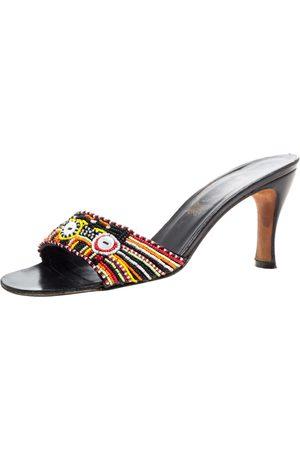 RENÉ CAOVILLA Multicolor Pearl Beaded Open Toe Sandals Size 37