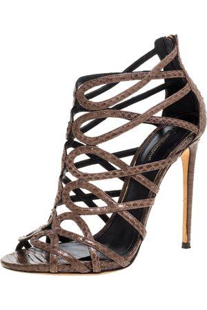 Dolce & Gabbana Brown Python Strappy Sandals Size 39