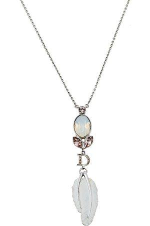 Dior Silver Tone Crystal Enamel Feather Pendant Necklace