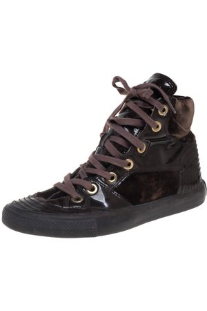 DandG D&G Brown Patent Leather and Velvet High Top Sneakers Size 36