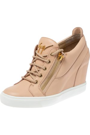 Giuseppe Zanotti Beige Leather Low Top Wedge Sneakers Size 41
