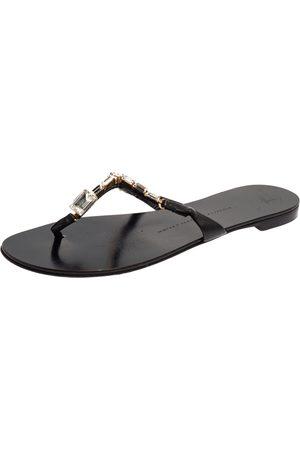 Giuseppe Zanotti Black Leather Jewel Embellished Thong Flat Sandals Size 38
