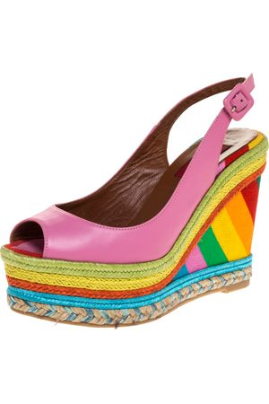 VALENTINO Pink Leather And Multicolor Wedge 1973 Espadrille Slingback Sandals Size 36