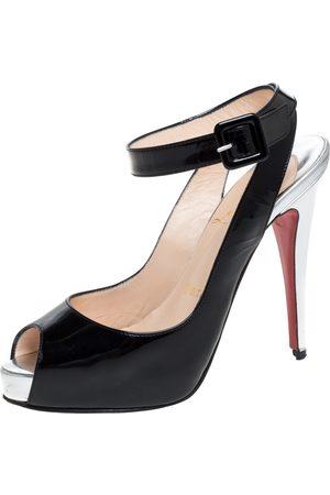 Christian Louboutin Black Patent Leather Peep Toe Platform Ankle Strap Sandals Size 35.5
