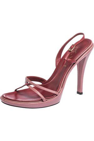 Casadei Pink Leather Cross Strap Slingback Platform Sandals Size 39