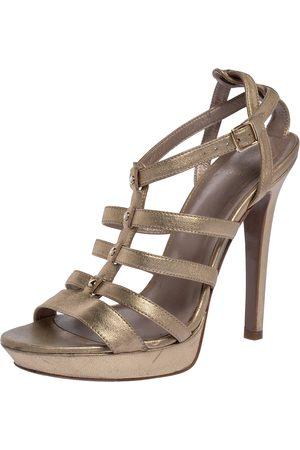 VERSACE Gold Leather Caged Platform Sandals Size 36