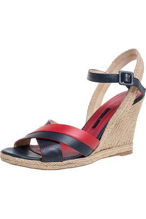 Carolina Herrera Red Black Leather Criss Cross Wedge Espadrille Ankle Strap Sandals Size 41
