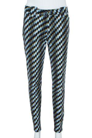 Kenzo Blue Denim Zigzag Print Skinny Jeans L