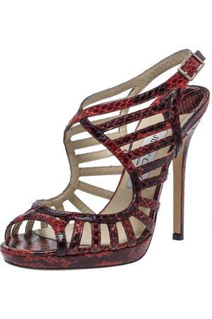 Jimmy Choo Red Python Keenan Python Platform Sandals Size 39