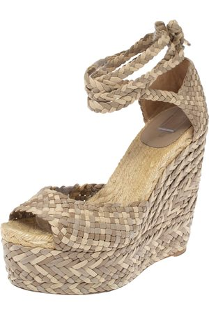 Hermès Beige Leather, Suede and Canvas Epice Tresse Espadrille Wedge Sandals Size 40