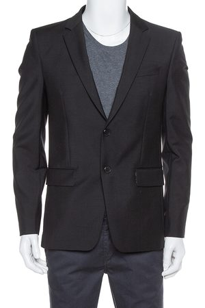Givenchy Black Wool & Mohair Floral Lined Tailored Blazer L
