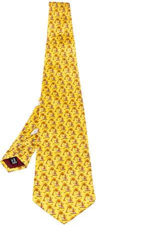 Salvatore Ferragamo Yellow Animal Print Traditional Silk Tie