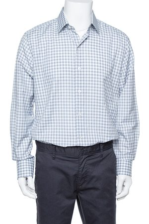 Tom Ford White & Blue Checkered Su Misura Long Sleeve Shirt XXL