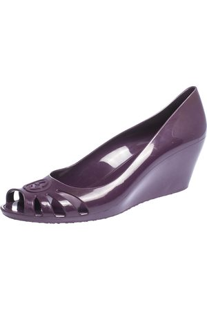 Gucci Purple Jelly Marola Peep Toe Wedge Pumps Size 41